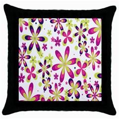 Star Flower Purple Pink Throw Pillow Case (Black)