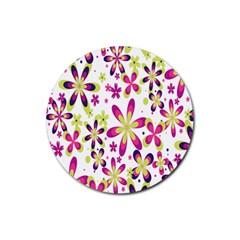 Star Flower Purple Pink Rubber Round Coaster (4 pack)