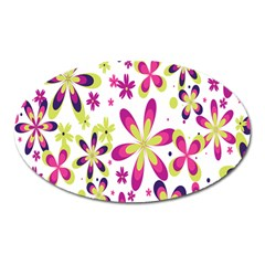 Star Flower Purple Pink Oval Magnet by Mariart