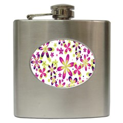 Star Flower Purple Pink Hip Flask (6 Oz) by Mariart