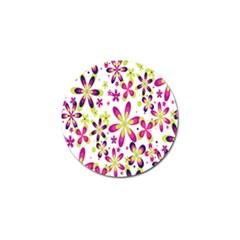 Star Flower Purple Pink Golf Ball Marker (4 pack)