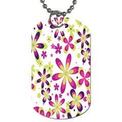 Star Flower Purple Pink Dog Tag (Two Sides)