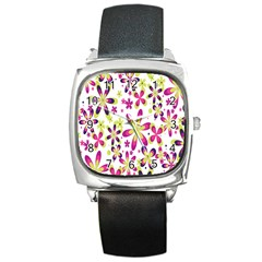 Star Flower Purple Pink Square Metal Watch by Mariart
