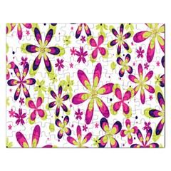 Star Flower Purple Pink Rectangular Jigsaw Puzzl
