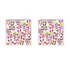 Star Flower Purple Pink Cufflinks (Square)