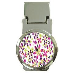 Star Flower Purple Pink Money Clip Watches
