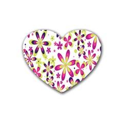 Star Flower Purple Pink Rubber Coaster (Heart)