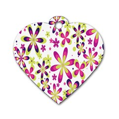 Star Flower Purple Pink Dog Tag Heart (one Side) by Mariart