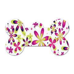 Star Flower Purple Pink Dog Tag Bone (One Side)