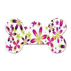 Star Flower Purple Pink Dog Tag Bone (Two Sides)