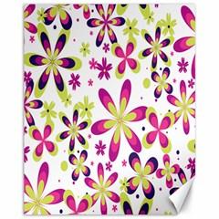 Star Flower Purple Pink Canvas 11  x 14