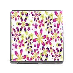 Star Flower Purple Pink Memory Card Reader (Square)