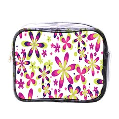 Star Flower Purple Pink Mini Toiletries Bags by Mariart