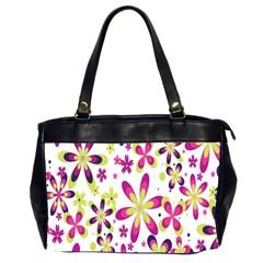 Star Flower Purple Pink Office Handbags (2 Sides)