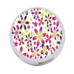 Star Flower Purple Pink 4-Port USB Hub (One Side)
