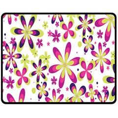 Star Flower Purple Pink Fleece Blanket (Medium)