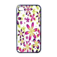 Star Flower Purple Pink Apple Iphone 4 Case (black) by Mariart