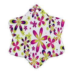 Star Flower Purple Pink Ornament (snowflake) by Mariart