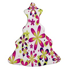 Star Flower Purple Pink Christmas Tree Ornament (Two Sides)