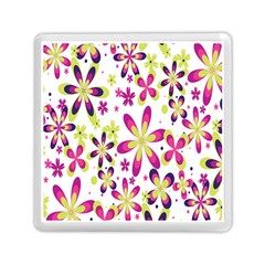 Star Flower Purple Pink Memory Card Reader (square)  by Mariart
