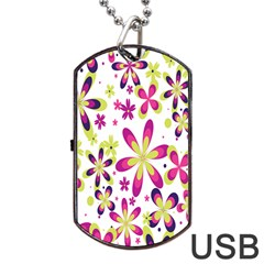 Star Flower Purple Pink Dog Tag USB Flash (Two Sides)
