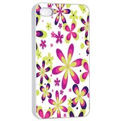 Star Flower Purple Pink Apple iPhone 4/4s Seamless Case (White)