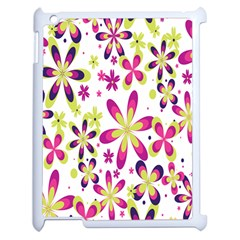 Star Flower Purple Pink Apple iPad 2 Case (White)