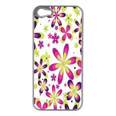 Star Flower Purple Pink Apple iPhone 5 Case (Silver)