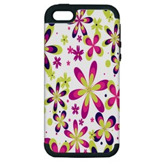 Star Flower Purple Pink Apple iPhone 5 Hardshell Case (PC+Silicone)
