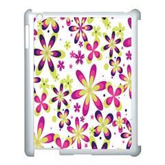 Star Flower Purple Pink Apple iPad 3/4 Case (White)