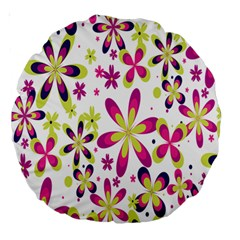 Star Flower Purple Pink Large 18  Premium Round Cushions by Mariart