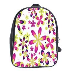 Star Flower Purple Pink School Bags (XL)
