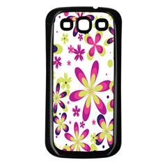 Star Flower Purple Pink Samsung Galaxy S3 Back Case (Black)