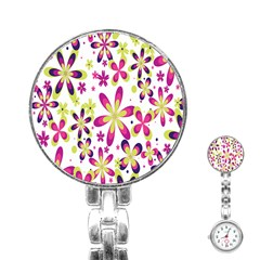 Star Flower Purple Pink Stainless Steel Nurses Watch