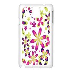 Star Flower Purple Pink Samsung Galaxy Note 3 N9005 Case (White)