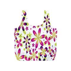 Star Flower Purple Pink Full Print Recycle Bags (S)