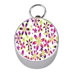 Star Flower Purple Pink Mini Silver Compasses