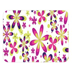 Star Flower Purple Pink Double Sided Flano Blanket (Large)