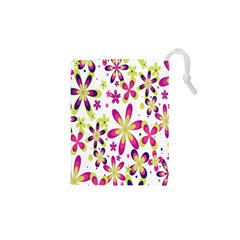 Star Flower Purple Pink Drawstring Pouches (xs)  by Mariart
