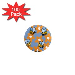 Wasp Bee Honey Flower Floral Star Orange Yellow Gray 1  Mini Magnets (100 Pack)