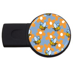 Wasp Bee Honey Flower Floral Star Orange Yellow Gray Usb Flash Drive Round (2 Gb) by Mariart