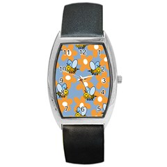 Wasp Bee Honey Flower Floral Star Orange Yellow Gray Barrel Style Metal Watch by Mariart