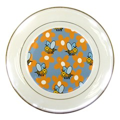 Wasp Bee Honey Flower Floral Star Orange Yellow Gray Porcelain Plates by Mariart