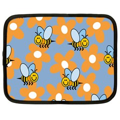 Wasp Bee Honey Flower Floral Star Orange Yellow Gray Netbook Case (xl)  by Mariart