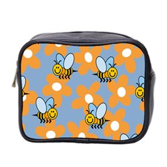 Wasp Bee Honey Flower Floral Star Orange Yellow Gray Mini Toiletries Bag 2 Side by Mariart