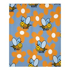 Wasp Bee Honey Flower Floral Star Orange Yellow Gray Shower Curtain 60  X 72  (medium)  by Mariart
