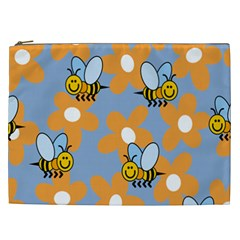 Wasp Bee Honey Flower Floral Star Orange Yellow Gray Cosmetic Bag (xxl)  by Mariart