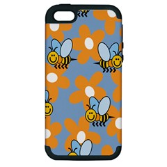 Wasp Bee Honey Flower Floral Star Orange Yellow Gray Apple Iphone 5 Hardshell Case (pc+silicone) by Mariart