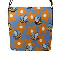 Wasp Bee Honey Flower Floral Star Orange Yellow Gray Flap Messenger Bag (l)  by Mariart