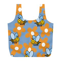 Wasp Bee Honey Flower Floral Star Orange Yellow Gray Full Print Recycle Bags (l)  by Mariart